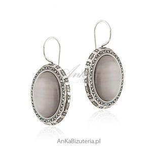 Kolczyki srebrne z szarym uleksytem - 2841414731
