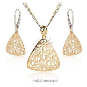 Komplet biżuteria srebrna pozłacana - 2841656621