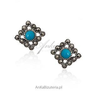 Kolczyki srebrne z markazytami i niebieskim turkusem - 2841656609