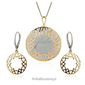 Komplet biżuteria srebrna z szarym kamieniem - pozłacany - 2842350983