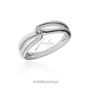 Pierścionek zaręczynowy - Pierścionek srebrny z białą cyrkonią - 2842732737