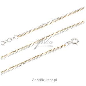 Łańcuszek srebrny ankier podwójny pozłacany i rodowany 50 cm - 2847085957