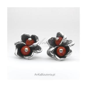 Kolczyki srebrne KWIATKI z koralem - 2835352150