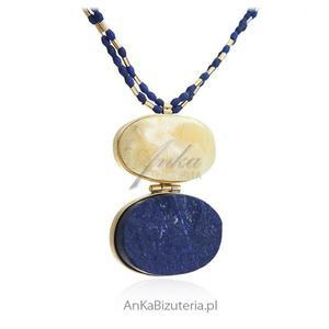 40ae994757f69e Piękna biżuteria damska Naszyjnik srebrny z bursztynem i lapis lazuli -  druza, AnKa Biżuteria