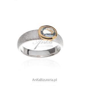 Pierścionek zaręczynowy - Pierścionek srebrny z Akwamarynem - 2847557221