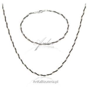 Komplet biżuteria srebrna oksydowana - naszyjnik i bransoletka - 2848520938