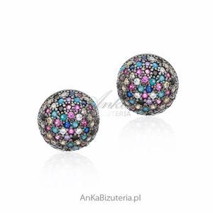 Kolczyki srebrne z turkusem i kolorowymi cyrkoniami - 2849833939