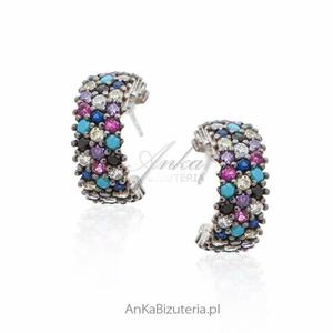 Kolczyki srebrne z turkusami i kolorowymi cyrkoniami - 2849833938