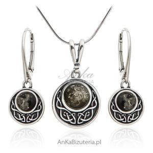 Komplet biżuterii srebrny z zielonym bursztynem - 2850406213