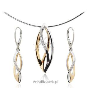 Komplet biżuteria srebrna pozłacana - 2853263519