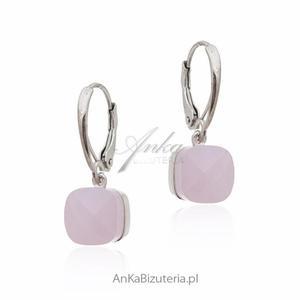 Kolczyki srebrne z różowym agatem - 2852734169