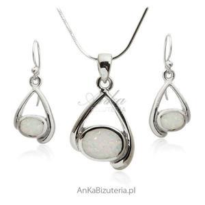 Komplet biżuteria srebrna z białym opalem Modna biżuteria - 2853140427