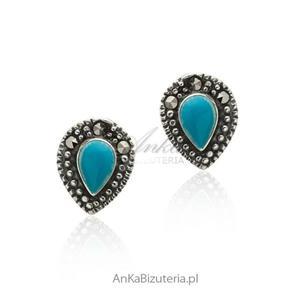 Kolczyki srebrne z markazytami i niebieskim turkusem - 2853140423
