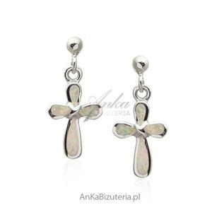 Kolczyki srebrne z białym opalem Modna biżuteria w sklepie AnKa - 2853263512