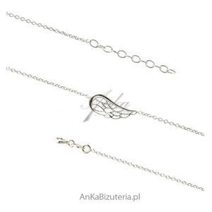 Bransoletka srebrna skrzydełko ażurowe - Modna biżuteria - 2853263491