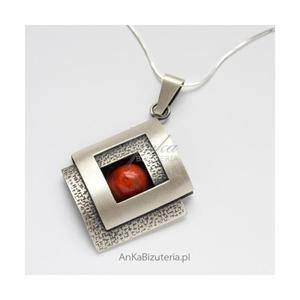 Biżuteria Klasyczna damska. Srebrny wisior z KORALEM - 2835351568