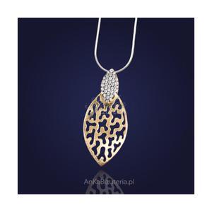 Srebrna biżuteria damska. Prześliczny srebrny wisiorek z cyrkoniami-złocony. - 2835353087