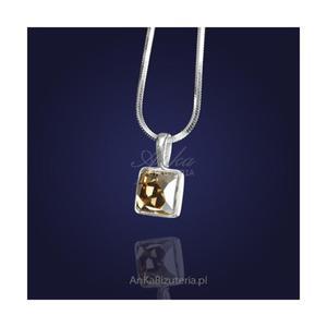 Wisiorek z kryształem Swarovskiego w kolorze Golden Shadow-elegancki złoty odcień. - 2835353383