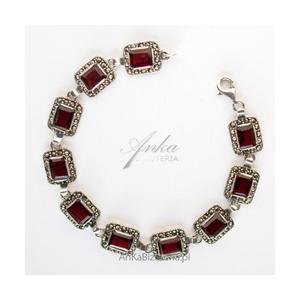Oryginalna Biżuteria Bransoletka srebrna Granaty oraz markazyty - 2837520228
