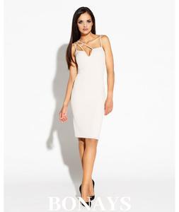ce6725dead Dopasowana sukienka Royale z ciekawym dekoltem - beż 055-Beżowy 055-Beżowy