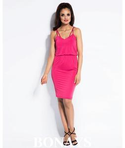 Malinowa dzienna sukienka na rami - 2859493274