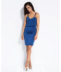 Niebieska dzienna sukienka na rami - 2859493281