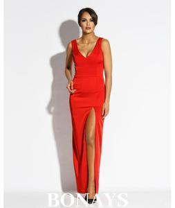 Długa dopasowana suknia z dekoltem Bella - czerwona 120-Czerwony 120-Czerwony, Rozmiar: XS Wysyłka w 24h, darmowa dostawa od 99PLN, mozliwość zakupu teraz i zapłaty za 30 dni - PayU - płacę później - 2879637715