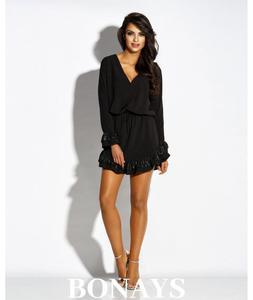 Czarna dzienna sukienka z falbank - 2859493325