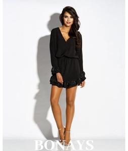 Czarna dzienna sukienka z falbank - 2859493329