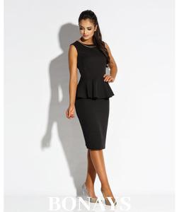 Czarna biznesowa sukienka na grubszych rami - 2859493348