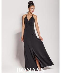 dc85c18ed1 Sklep  ayfashion długa sukienka wiązana na szyi czarna sylwester ...