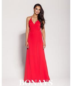 Długa suknia wiązana na szyi Pari - czerwony 133-Czerwony 133-Czerwony, Rozmiar: L Wysyłka w 24h, darmowa dostawa od 99PLN, mozliwość zakupu teraz i zapłaty za 30 dni - PayU - płacę później - 2879637873