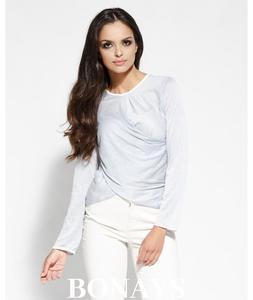 Szara dzienna bluzka damska z zak - 2859493623