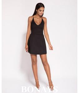 c1cfb87cb1 krótka sukienka - dekolt na plecach - Amelia czarna 140-Czarny 140-Czarny