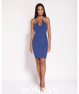 644b499c80 Dopasowana sukienka Sila - niebieska 144-Niebieski 144-Niebieski