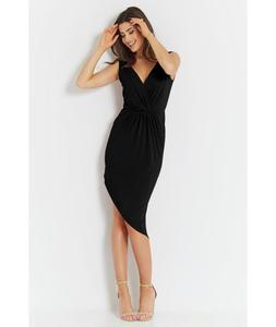 Czarna uwodzicielska sukienka z asymetrycznym do - 2859495458