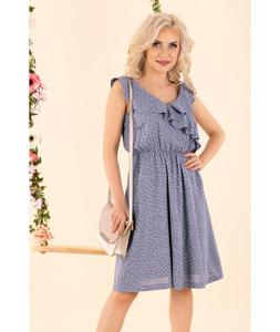Niebieska delikatna sukienka w kropeczki z falbanka i dekoltem w serek VIOLAYAM violayam-jeans-d91 violayam-jeans-d91, Rozmiar: M Wysy - 2859495539