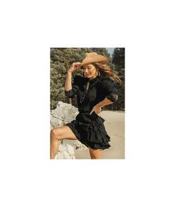 Czarny lekki komplet damski - koszula i sp - 2859495946