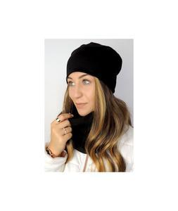 Czarny komplet czapka z kominem c1-czarny c1-czarny, Rozmiar: Uniwersalny Wysy - 2859495978