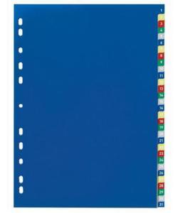 Przekładki A4 wykonane z PP kolorowe indeksy 1-31 675627 - 2832519313