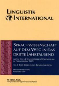 Sprachwissenschaft Auf Dem Weg in das Dritte Jahrtausend Linguistics on the Way into the Third Millennium - 2854473440