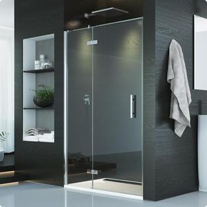 Drzwi jednoczęściowe ze ścianką stałą w linii z lewym profilem przyściennym Pur produkcji SanSwiss PU13PG0901007 - 2848959372