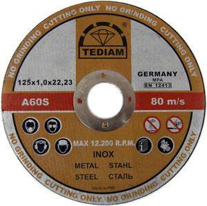 TARCZE DO CIĘCIA INOX 125 x 22,2 x 1 mm TEDIAM