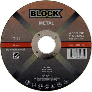 TARCZE DO CIĘCIA METALU 115 x 1 x 22,2 mm BLOCK METAL