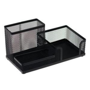Przybornik na biurko metalowy trzykomorowy czarny - 2844560532