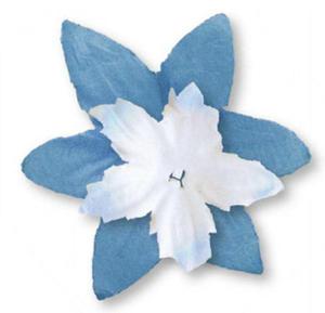 Papierowe kwiatki Heyda niebieskie/białe x80