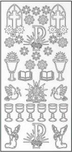 Sticker z�oty 01200 - motywy komunijne, kwiaty x1