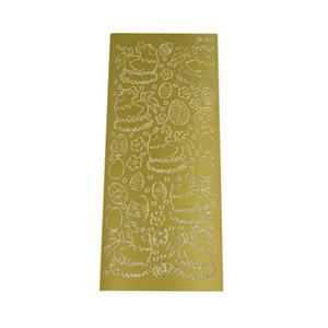 Sticker złoty 01817 - kury i pisanki x1