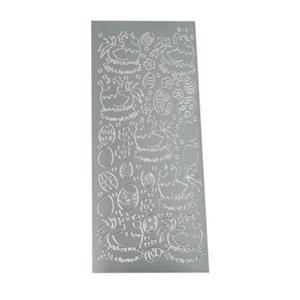 Sticker srebrny 01817 - kury i pisanki x1 - 2824961360