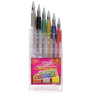 Długopisy żelowe Easy z brokatem x6